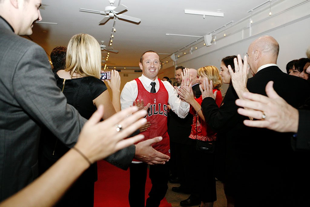 Prairie Productions Chicago Wedding Ceremony Groom Introduction, Chicago Bulls Jersey, Megan & Pascal Married