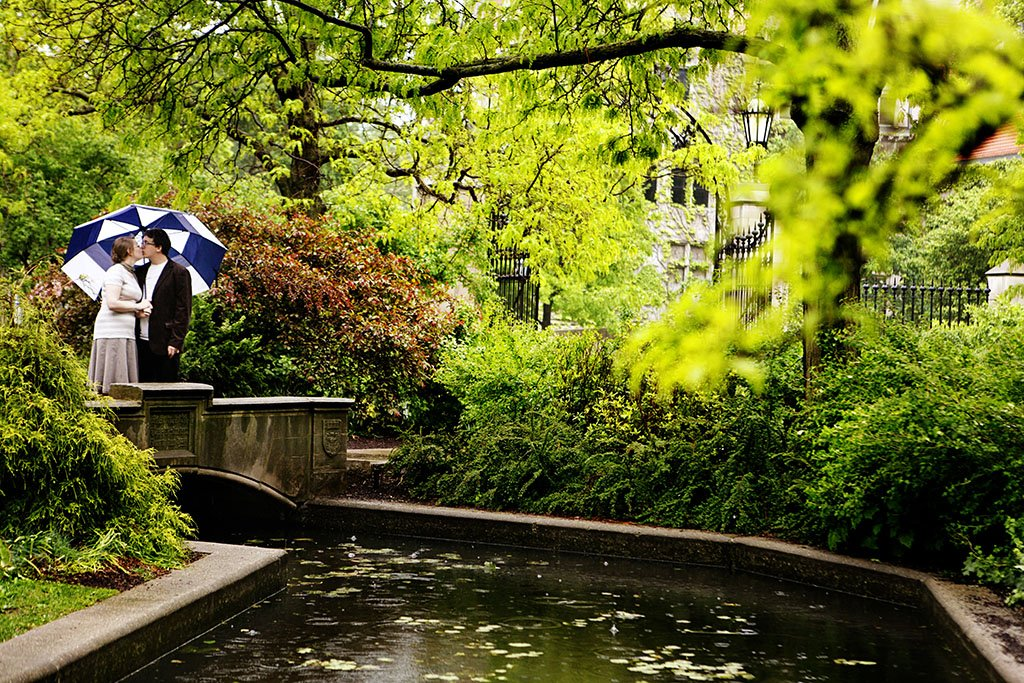 Rainy Day Creek Engagement Photography, Hyde Park Chicago, College Campus