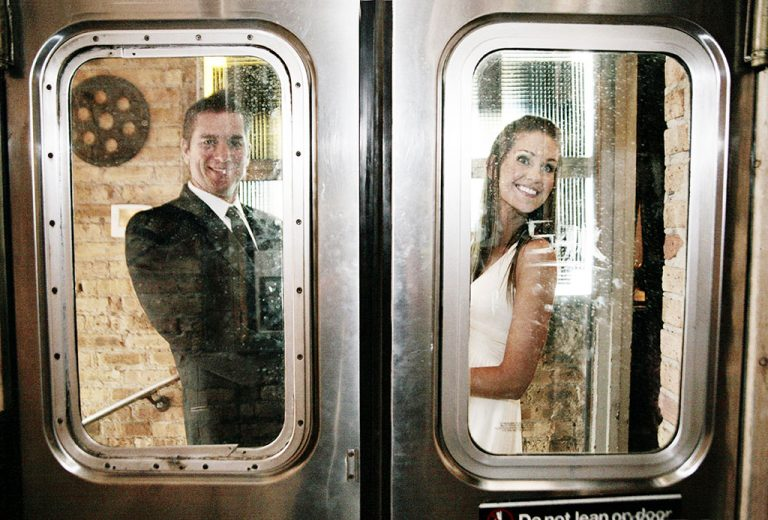 Kristen & Marc Married, Salvage One Wedding Train Doors, Chicago Wedding Photographer