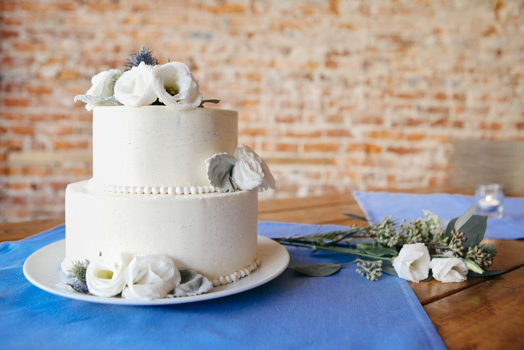 Simple Two Tier White Wedding Cake