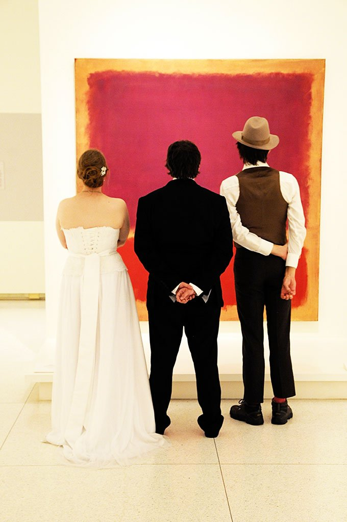 Smart Museum Wedding Party, bride and groom red painting, Mame & Eric