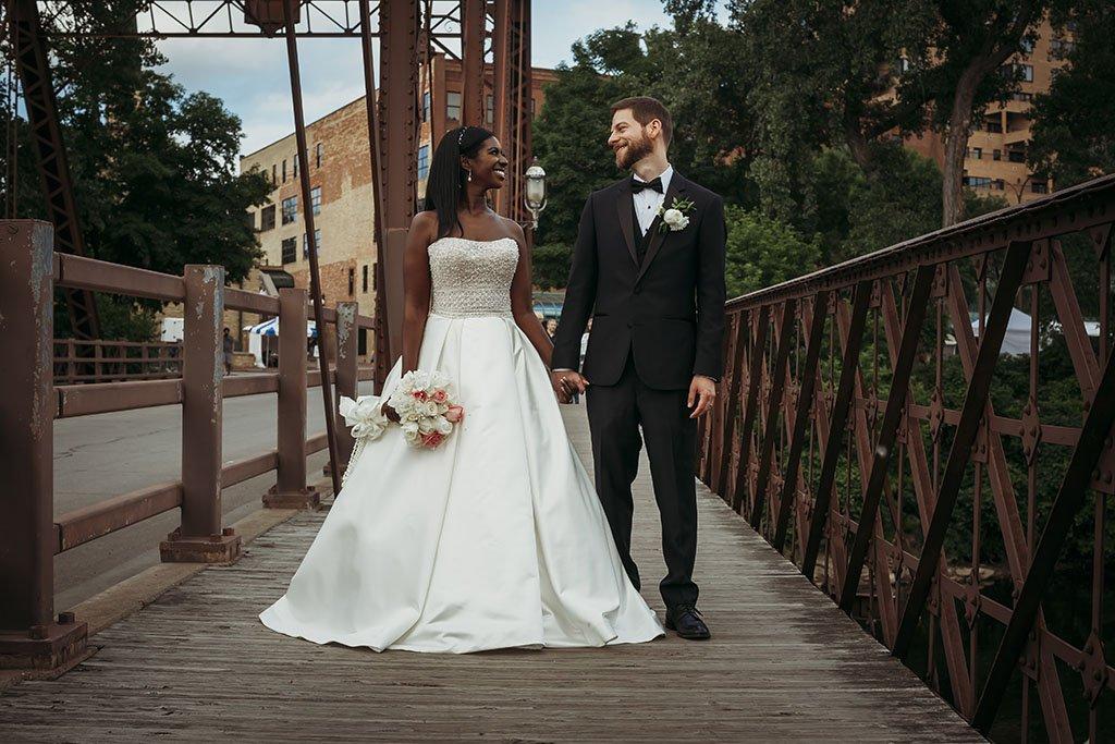 St Anthony Main Bridge Minneapolis Wedding Photographers