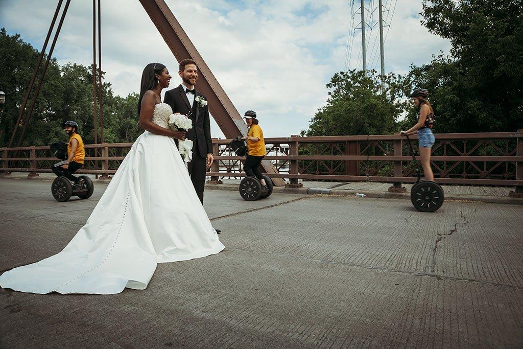 St Anthony Main Bridge Segways Minneapolis Wedding Photographers