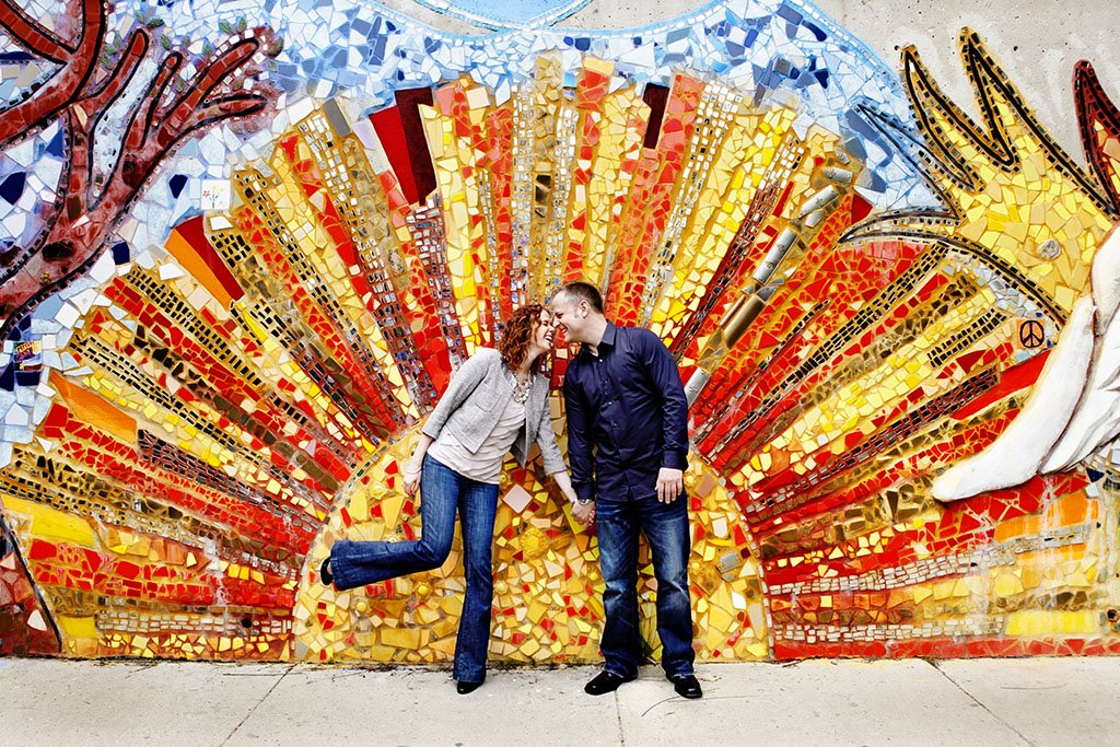Sunburst Mosaic Mural Chicago Engagement Photographer