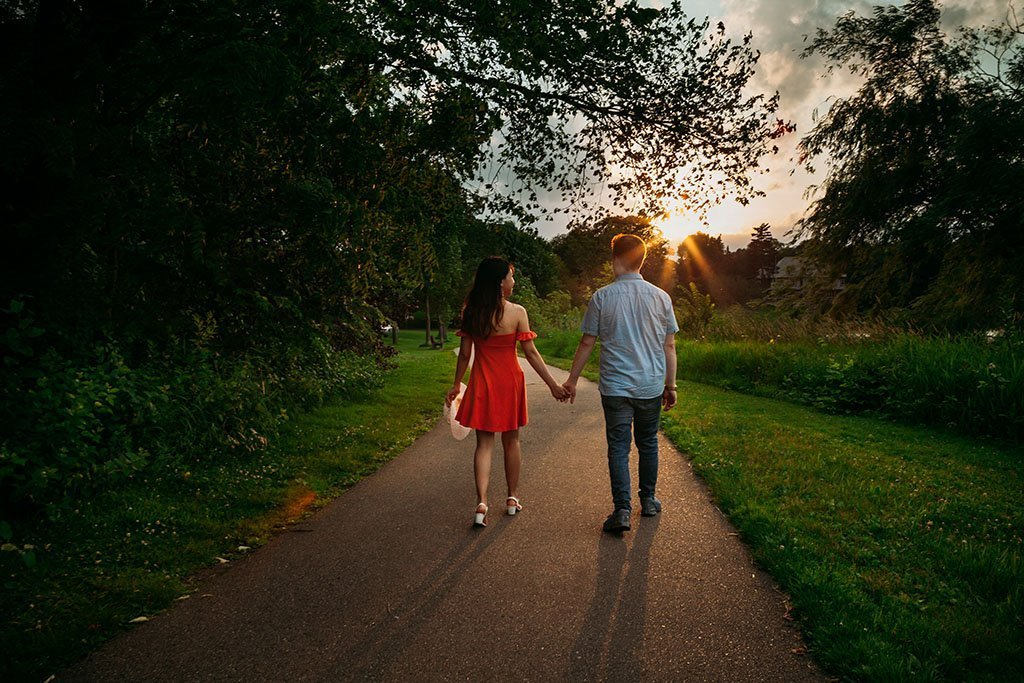 Sunset Lake of the Isles Twin Cities Engagement Photography