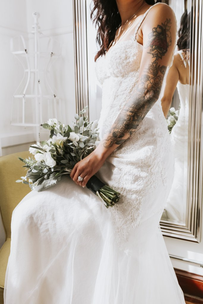 Tattoo Bride, tattooed, Urban wedding, city bride, rock n roll, punk, alternative, bridal