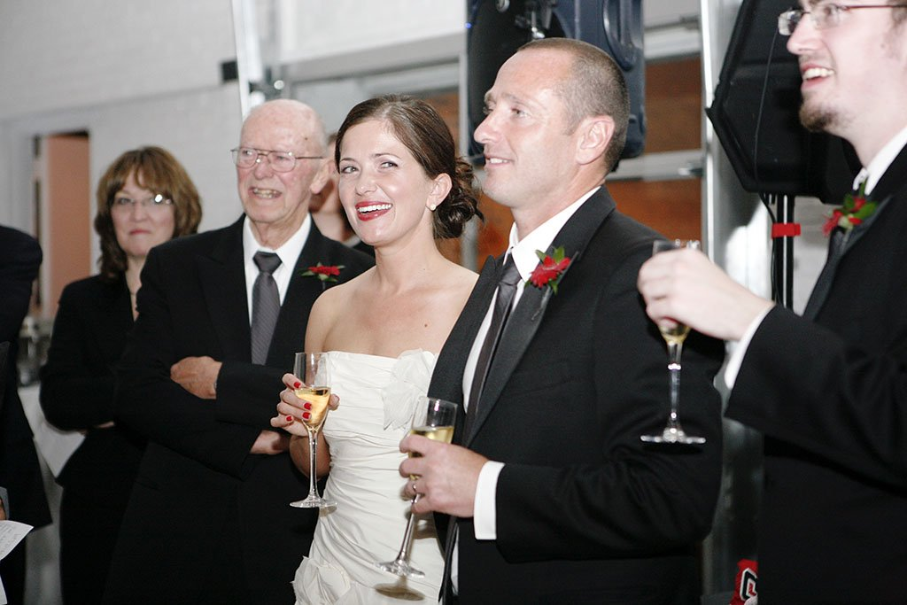Toasts Prairie Productions Chicago Wedding Reception, Megan & Pascal Married
