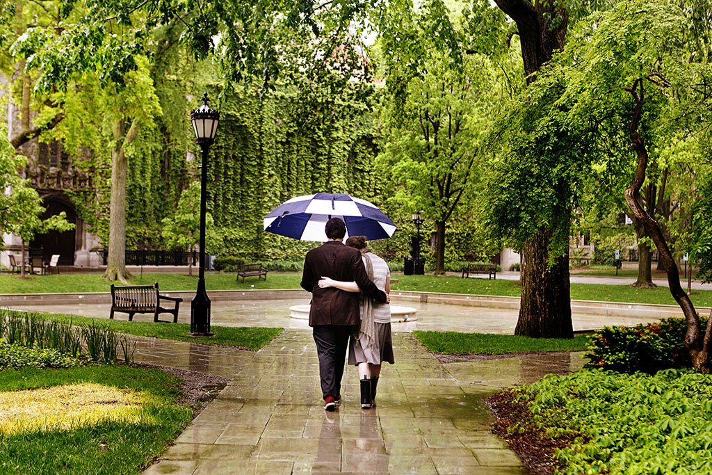 University of Chicago Rain Engagement Photography, Minneapolis Wedding Photographer