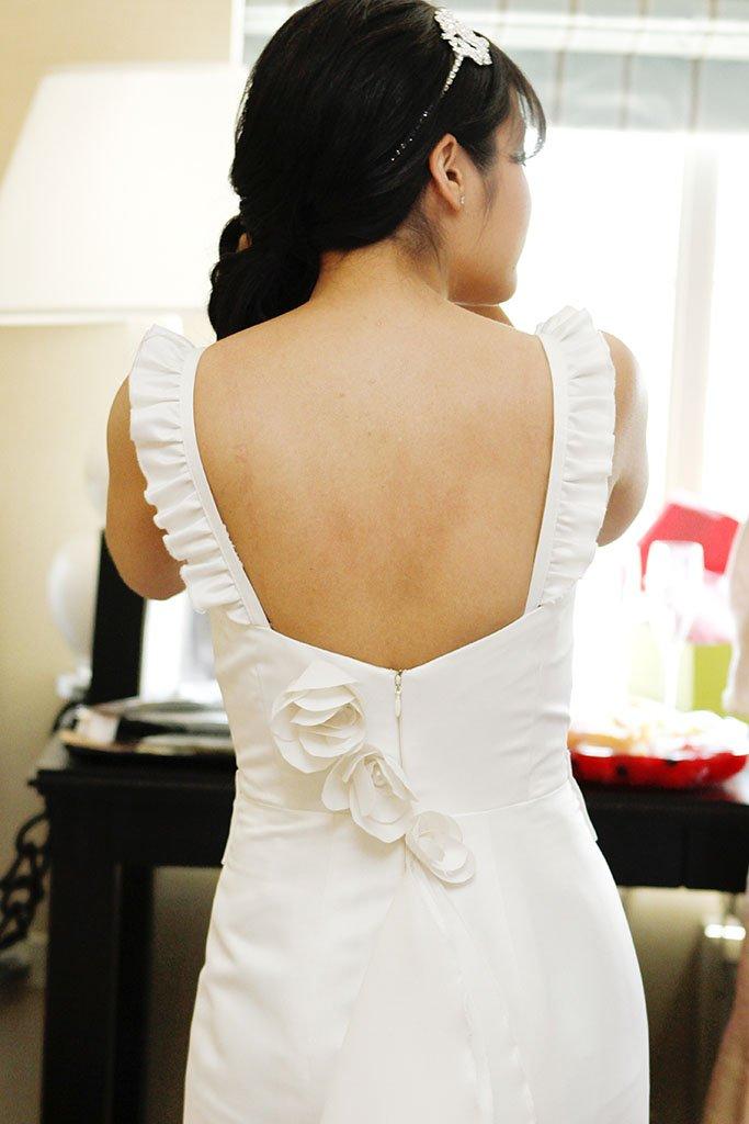 Wedding Dress Back Flower Detail