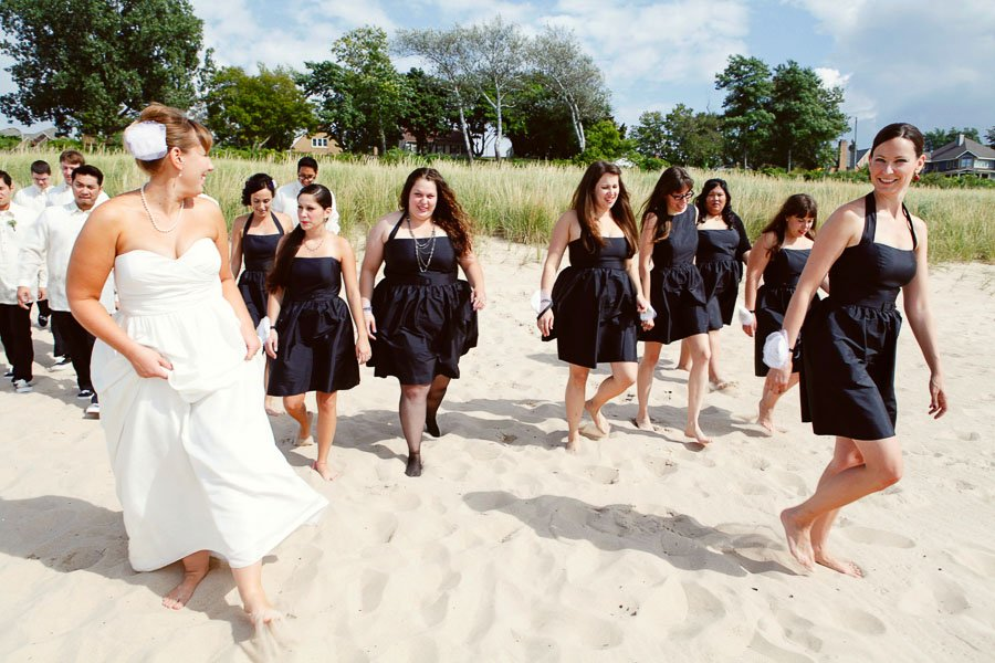 Wedding Party Candid Beach Chicago Wedding Photographer