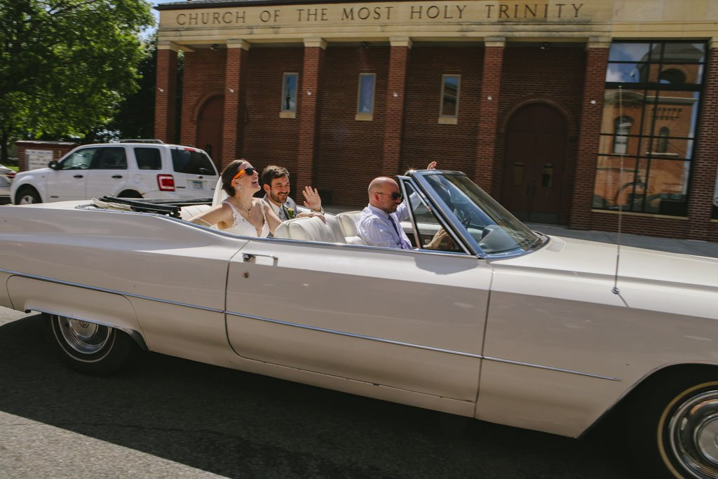 Wedding Photography Vintage White Cadillac