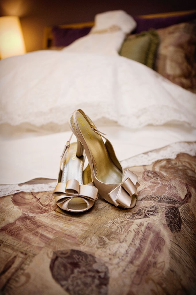 Wedding dress and champagne shoes, Minneapolis Wedding Photographer
