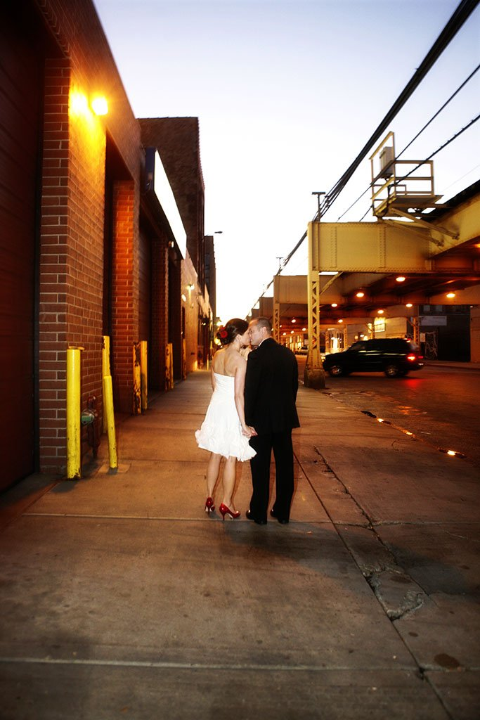 West Loop Chicago Bride Groom Wedding Portrait, evening