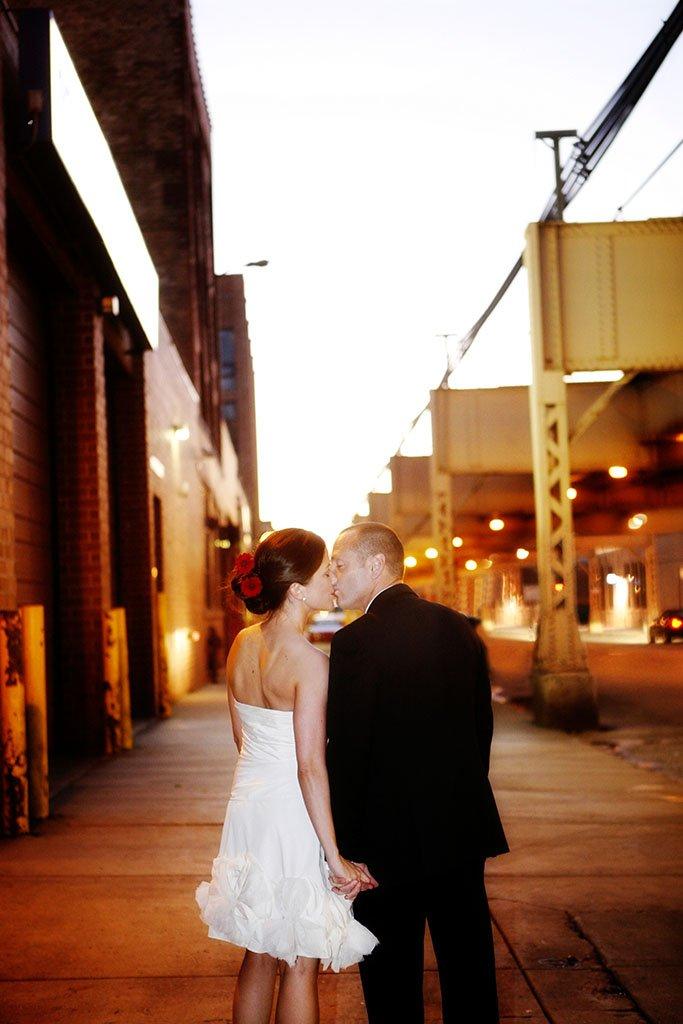 West Loop Night Bride Groom Wedding Portrait, Megan & Pascal Married
