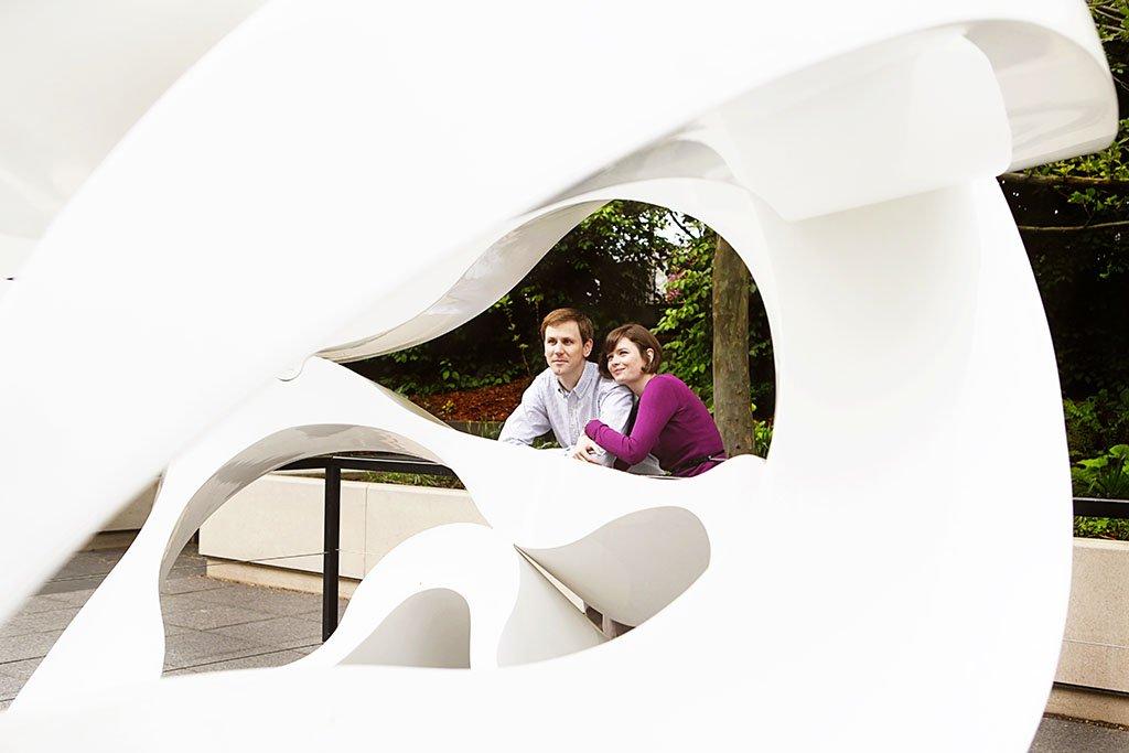 White Abstract Sculpture millennium park Chicago engagement photo, Twin Cities Wedding Photographer, Moira & Brent Engagement