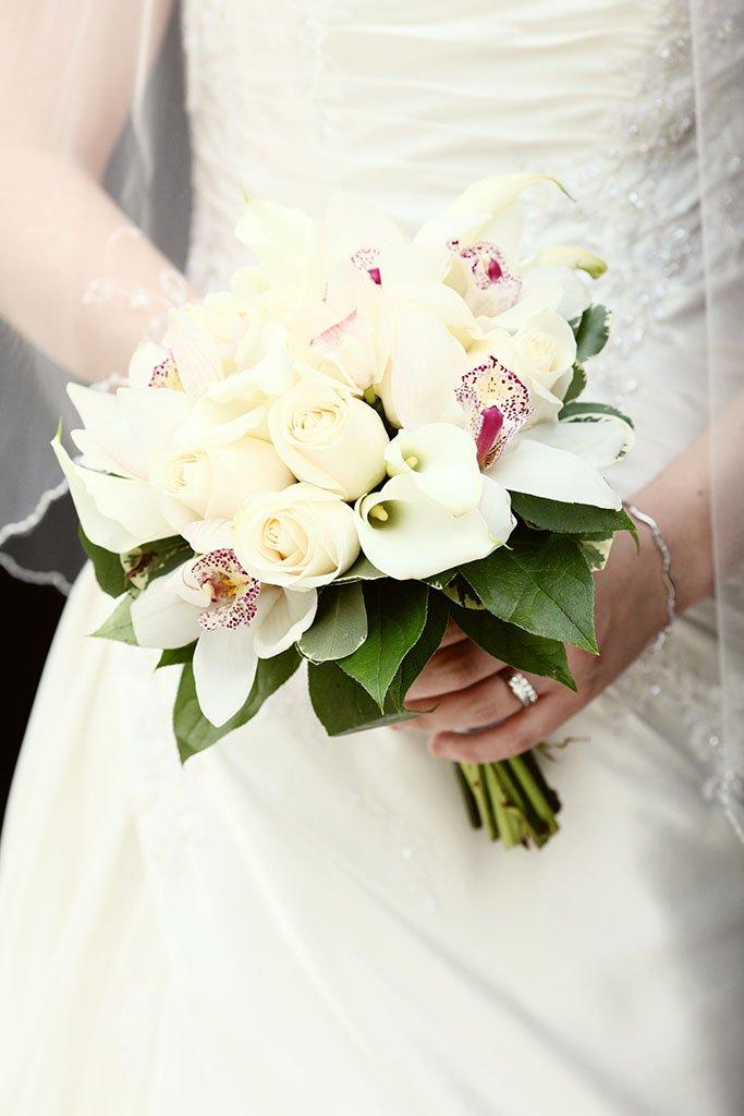 White Rose Orchid calla lily Bridal Wedding Bouquet, Erin & Joe