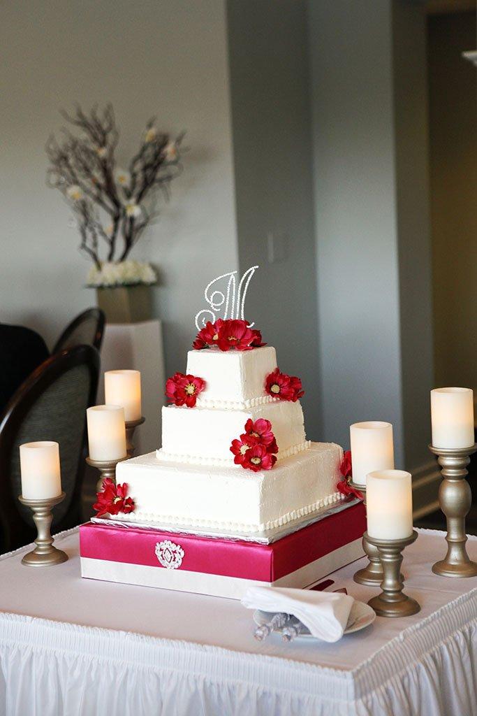 White Wedding Cake Hot Pink