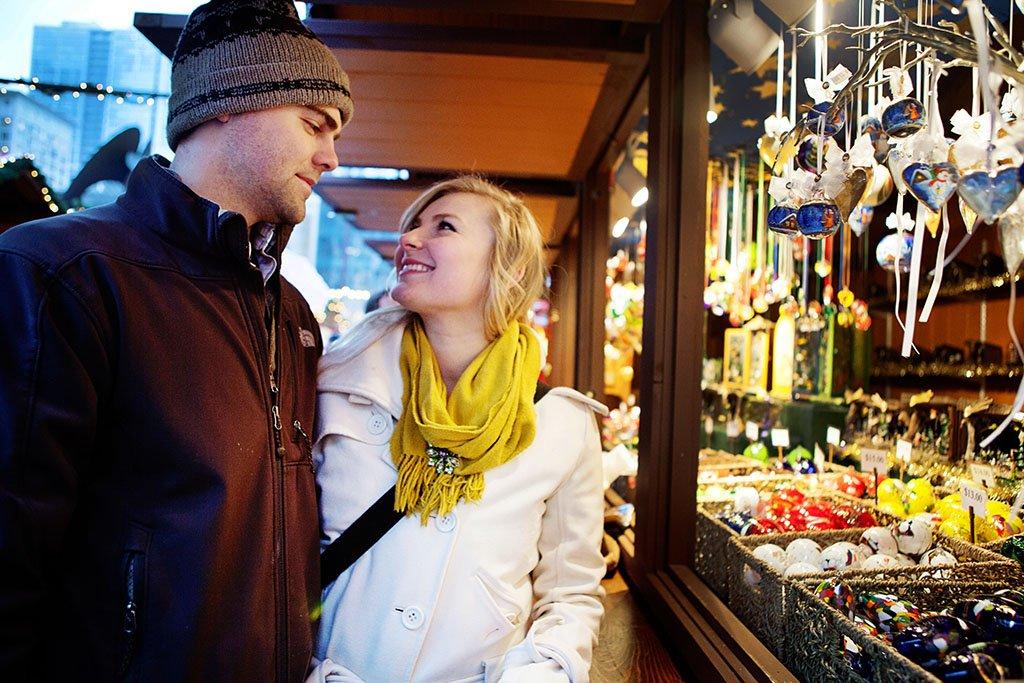 Kristina + John Engaged, Winter Holiday Market Chicago Engagement Photography