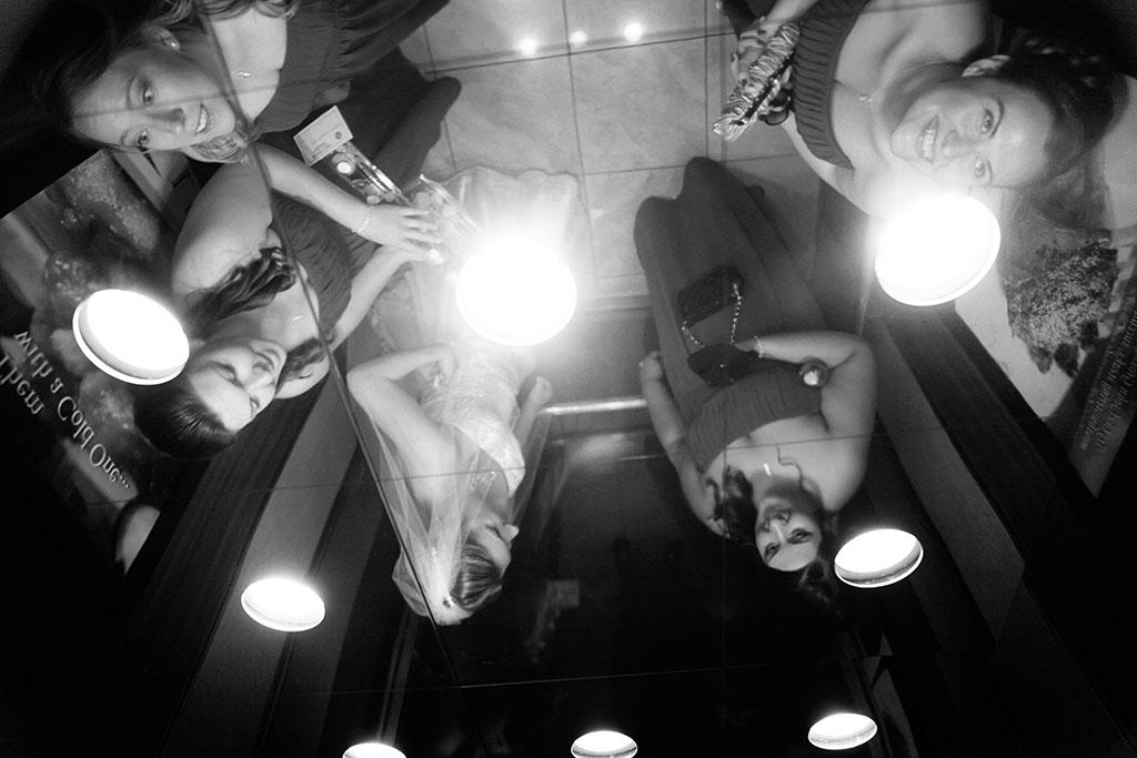 Wyndham Hotel Bride Elevator, Photojournalism, Documentary wedding photography, Erin & Joe